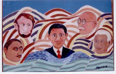 Obama, Linclon,Gandhi,Georg Jr.Mandela