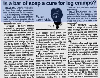 News article on Soap in the Bed for Leg Pain